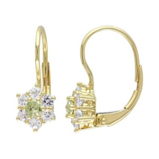 Peridot & White Sapphire 10k Gold Flower Drop Earrings