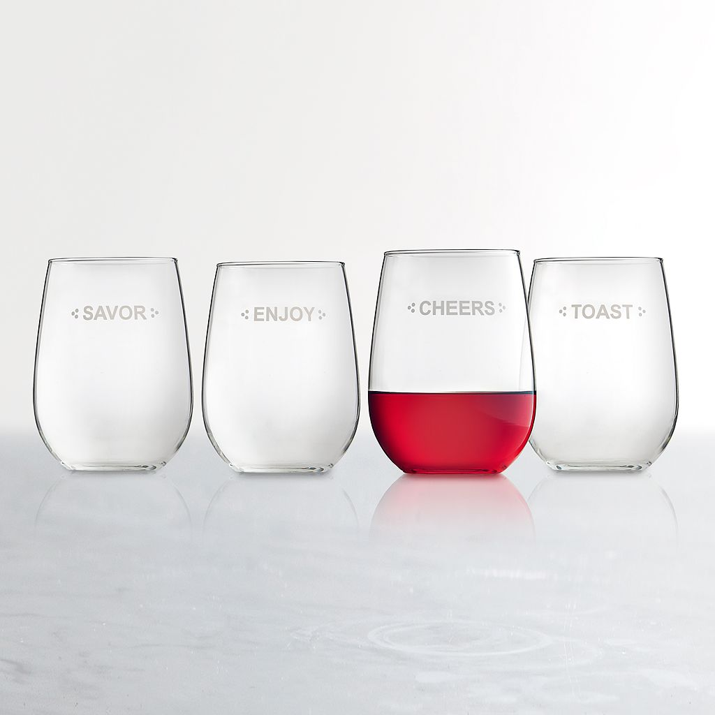 Food Network™ Sentiments 4-pc. Stemless Wine Glass Set