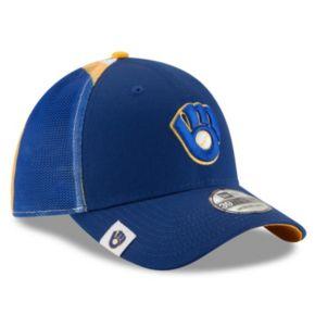 Adult New Era Milwaukee Brewers 39THIRTY Logo Wrapped Flex-Fit Cap
