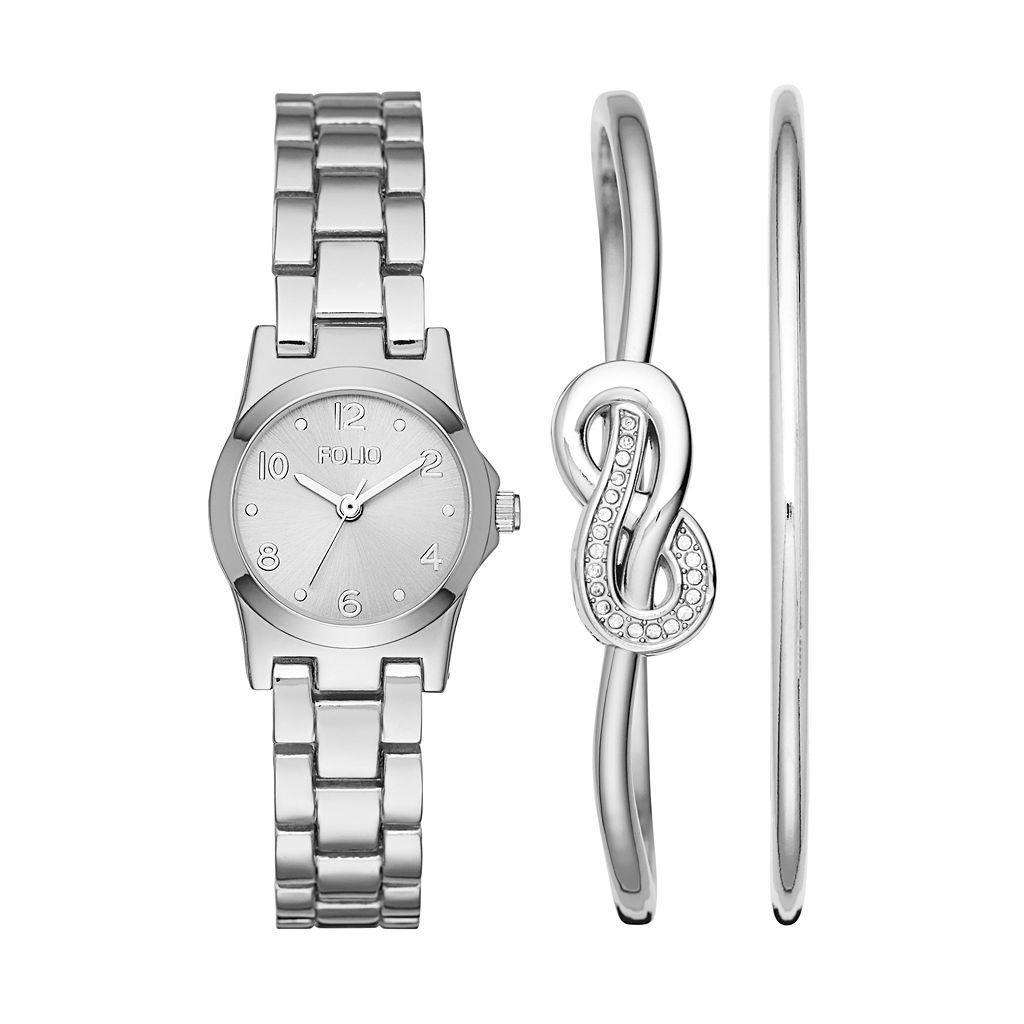 Folio Women's Watch & Knot Bangle Bracelet Set