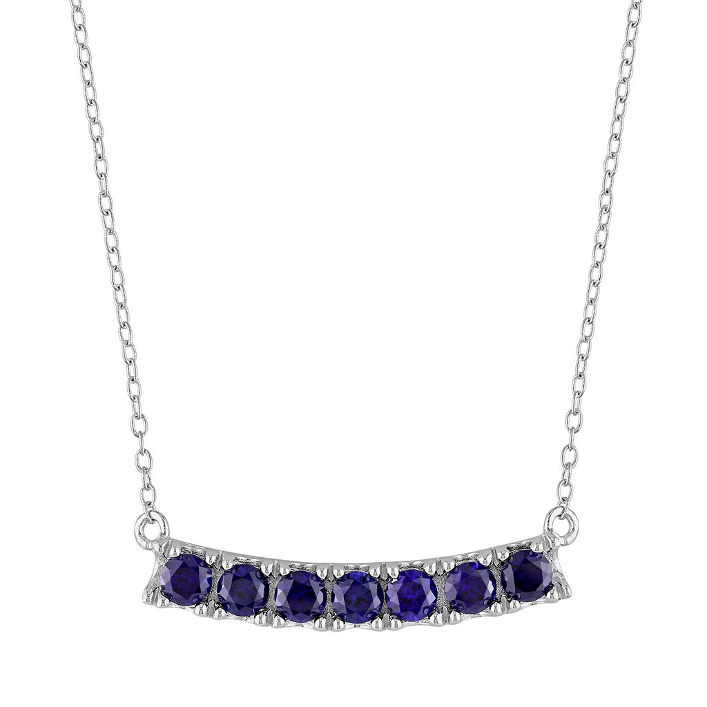Sterling Silver Lab-Created Sapphire Curved Bar Necklace