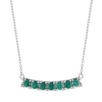 Sterling Silver Lab-Created Emerald Curved Bar Necklace