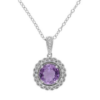 Stella Grace Sterling Silver Amethyst & 1/10 Carat T.W. Diamond Halo Pendant