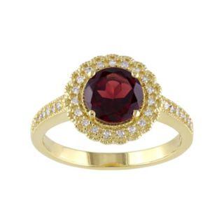 Stella Grace Sterling Silver Garnet & 1/8 Carat T.W. Diamond Halo Ring