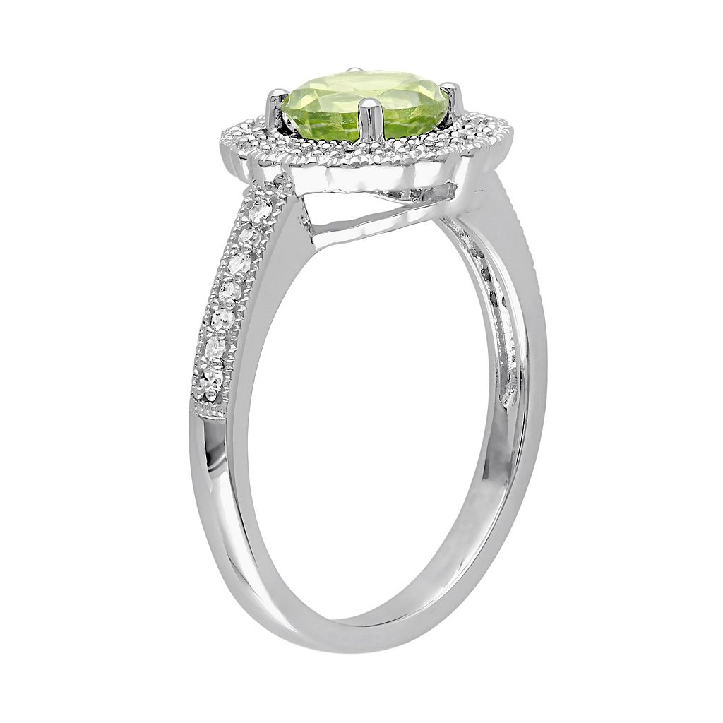Sterling Silver Peridot & 1/8 Carat T.W. Diamond Halo Ring