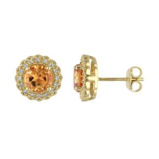 Sterling Silver Citrine & 1/10 Carat T.W. Diamond Halo Earrings