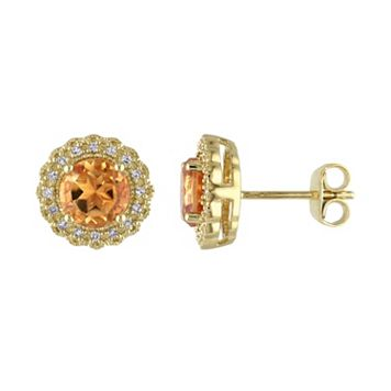 Sterling Silver Citrine & 1/10 Carat T.W. Diamond Halo Earrings