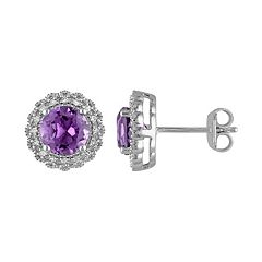 Stella Grace Sterling Silver Amethyst & 1/10 Carat T.W. Diamond Halo Earrings