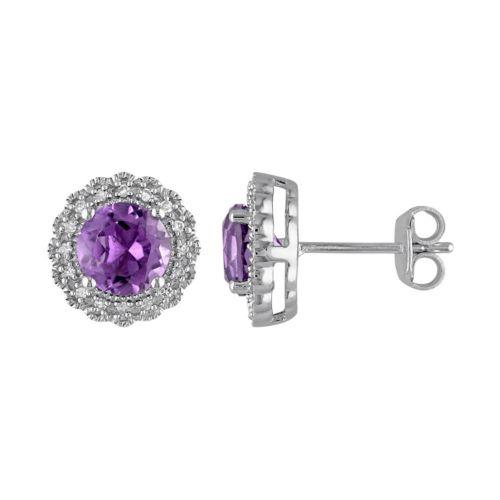 Sterling Silver Amethyst & 1/10 Carat T.W. Diamond Halo Earrings