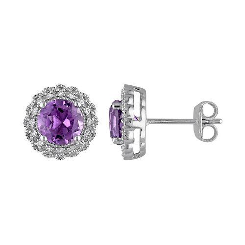 Stella Grace Sterling Silver Amethyst & 1/10 Carat T.W. Diamond Halo Earrings