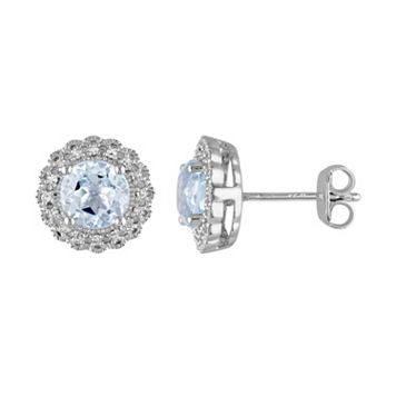 Sterling Silver Sky Blue Topaz & 1/10 Carat T.W. Diamond Halo Earrings