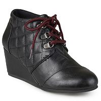 Journee Collection Fold Womens Quilted Lace-up Wedge Ankle Boots