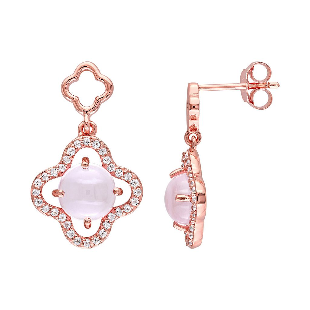 Rose Quartz & Cubic Zirconia Sterling Silver Clover Drop Earrings