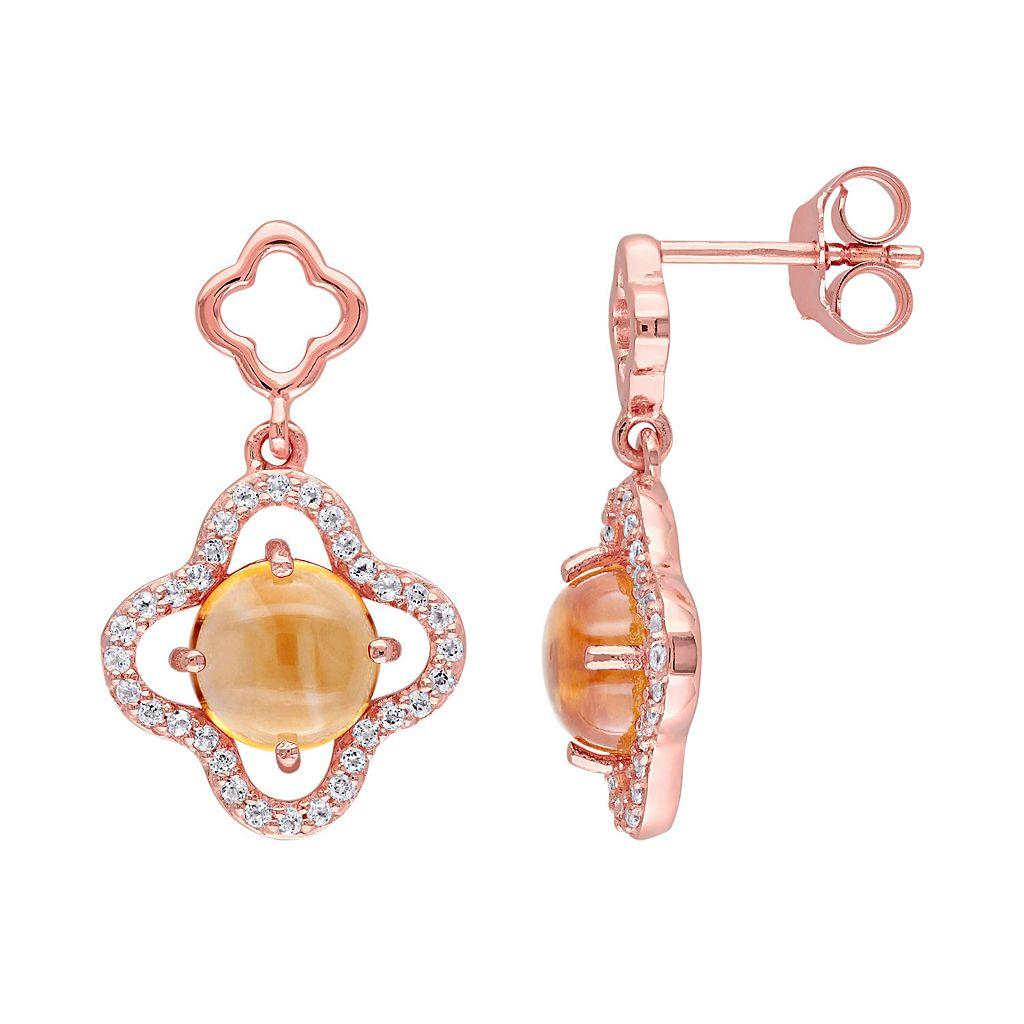 Citrine & Cubic Zirconia Sterling Silver Clover Drop Earrings