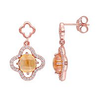Citrine & Cubic Zirconia Sterling Silver Clover Drop Earrings