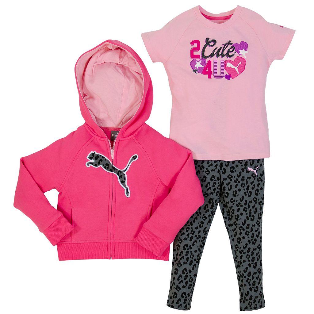 PUMA Toddler Girl Hoodie & Cheetah Leggings Set