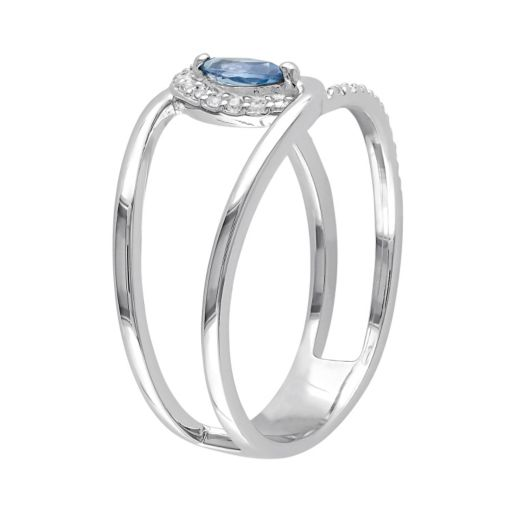 Blue & White Topaz Sterling Silver Double Row Marquise Ring