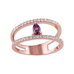 Rhodolite & White Topaz Sterling Silver Double Row Ring