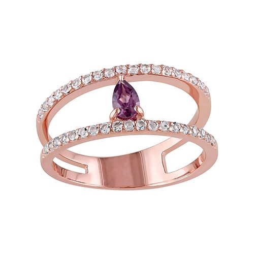 Stella Grace Rhodolite & White Topaz Sterling Silver Double Row Ring