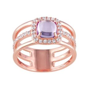 Amethyst & White Topaz Sterling Silver Triple Row Halo Ring