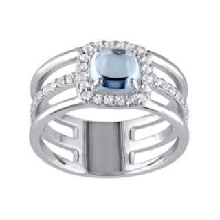 Blue & White Topaz Sterling Silver Triple Row Halo Ring