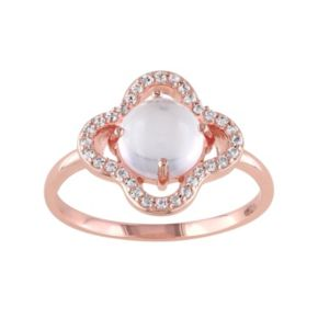 Rose Quartz & White Topaz Sterling Silver Clover Ring