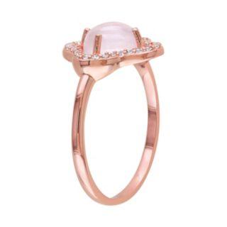 Rose Quartz & White Topaz Sterling Silver Clover Ring