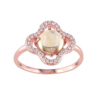 Citrine & White Topaz Sterling Silver Clover Ring