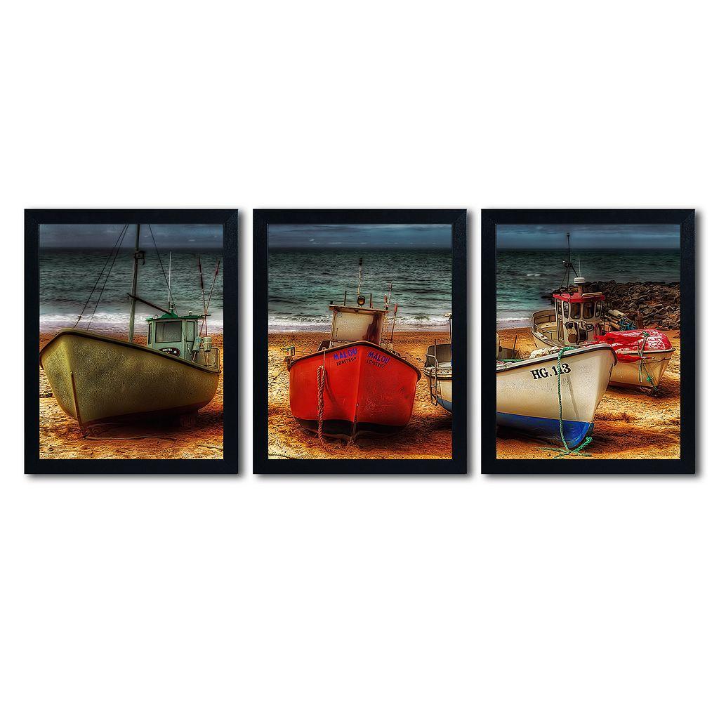 Trademark Fine Art ''Resting Boats'' 3-pc. Wall Art Set