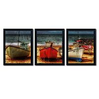 Trademark Fine Art ''Resting Boats'' 3-pc. Wall Art Set