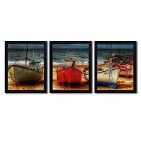 Trademark Fine Art ''Resting Boats'' 3 pc Wall Art Set