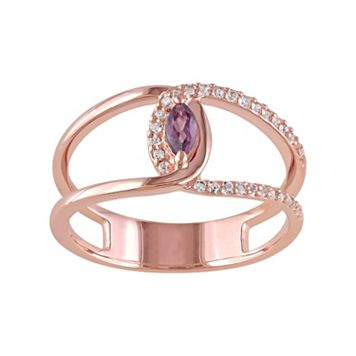 Rhodolite & White Topaz Sterling Silver Double Row Marquise Ring