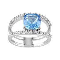 Swiss Blue Topaz & Diamond Accent Sterling Silver Double Row Ring