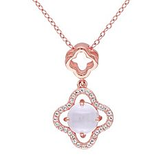 Rose Quartz & White Topaz Sterling Silver Clover Pendant Necklace