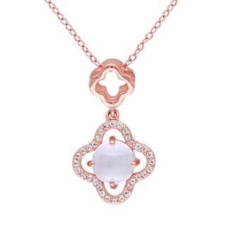 Rose Quartz & White Topaz Sterling Silver Clover Pendant Necklace