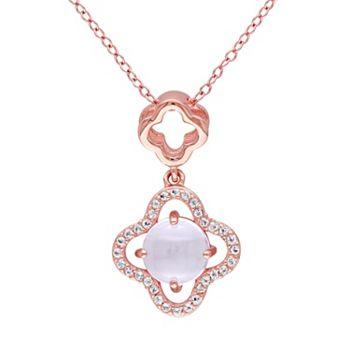 Rose quartz white topaz sterling silver clover pendant necklace aloadofball Choice Image
