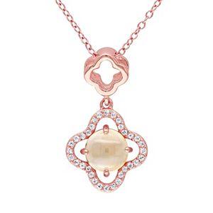 Stella Grace Citrine & White Topaz Sterling Silver Clover Pendant Necklace