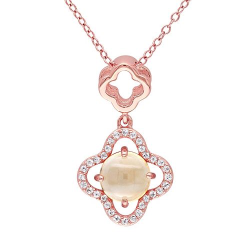 Citrine & White Topaz Sterling Silver Clover Pendant Necklace