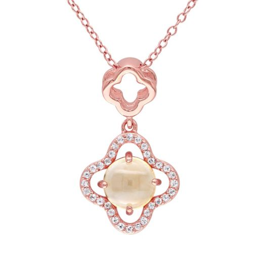 Stella Grace Citrine & White Topaz Sterling Silver Clover Pendant Necklace