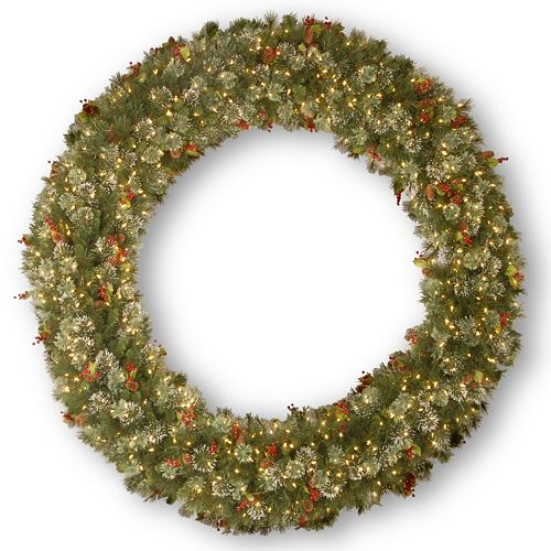 72-in. Pre-Lit Wintry Pinecone, Berry & Snowflake Pine Artificial Wreath