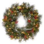 24 in Pre-Lit Wintry Pinecone, Berry & Snowflacke Pine Artificial Wreath