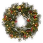 24-in. Pre-Lit Wintry Pinecone, Berry & Snowflacke Pine Artificial Wreath