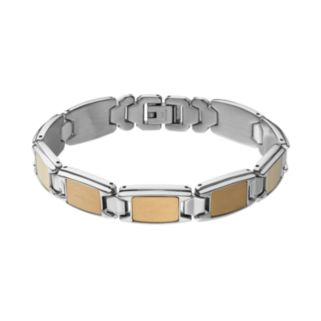 STEL Men's Two Tone Stainless Steel Rectangle Link Bracelet