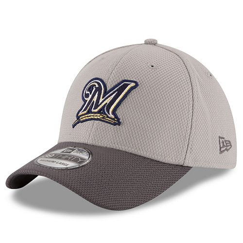 Adult New Era Milwaukee Brewers 39THIRTY Team Grayed Flex-Fit Cap