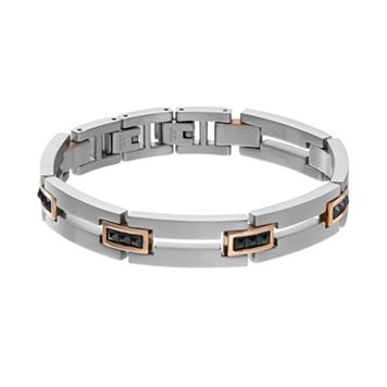 STEL Men's Tri-Tone Stainless Steel Pyramid Rectangle Link Bracelet