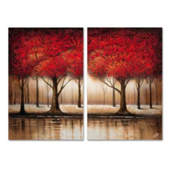 Trademark Fine Art ''Parade Of Red Trees'' Wall Art 2-piece Set