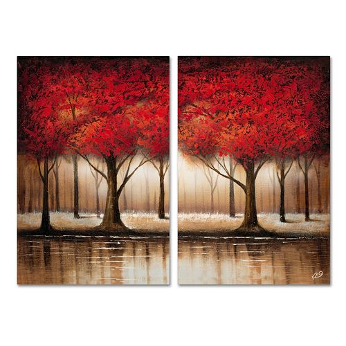 Trademark Fine Art ''Parade Of Red Trees'' Wall Art 2-piece Set