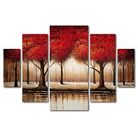 Trademark Fine Art ''Parade Of Red Trees'' 5-pc. Wall Art Set