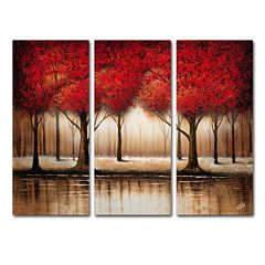 Trademark Fine Art ''Parade Of Red Trees'' 3 pc Wall Art Set