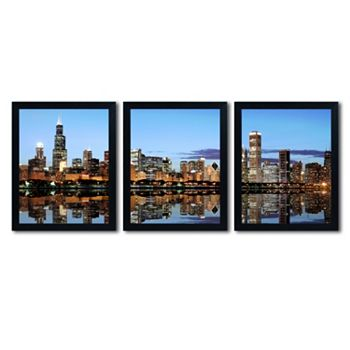 Trademark Fine Art \'\'Chicago IL\'\' 3-pc. Wall Art Set